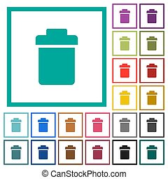 Single trash flat color icons with quadrant frames on white background