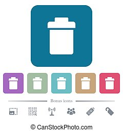 Single trash flat icons on color rounded square backgrounds...