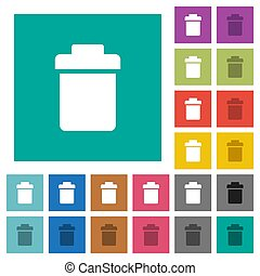 Single trash multi colored flat icons on plain square backgrounds. Included white and darker icon variations for hover or active effects.
