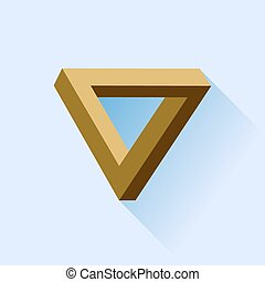 Single Triangle - Single Brown Triangle Isolated on Blue...