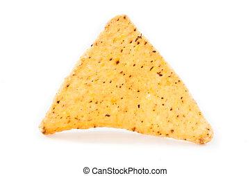 Single triangular crisps against white background