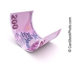 Single Turkish Lira on wihite background (computer generated image)