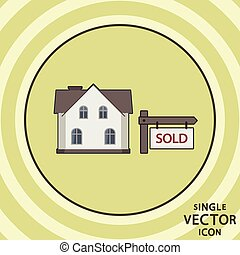 Single vector color flat icon. Real estate for sale.