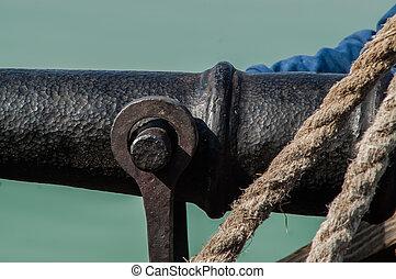 single vintage cannon on a ship Close-up