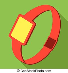 Single watch gadget icon, vector illustration over green