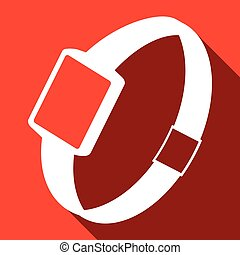 Single watch gadget icon, vector illustration over red
