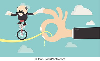 Single wheel bicycle key concept of people running.Business symbol of ambition, success, motivation,