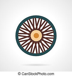 Single wheel flat vector icon