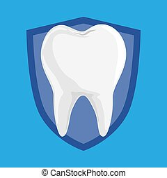 Single White and Healthy Tooth on Protection Shield iSolated on Blue Background.