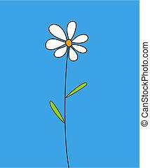 Single white flower on blue background
