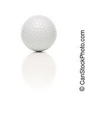 Single White Golf Ball on White