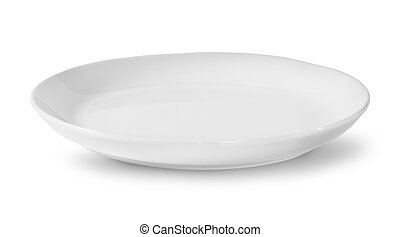 Single White Porcelain Plate Isolated On White Background