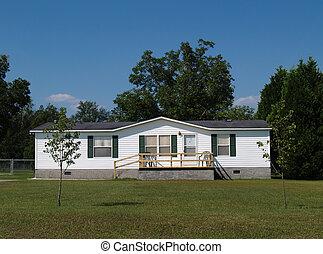 single-wide, móvil, residencial, hogar