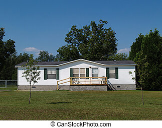 Single-wide mobile residential home - White single-wide ...