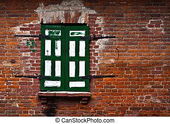 Single window in a brick wall