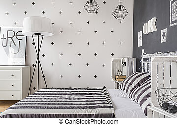Single woman bedroom idea - New style bedroom in black and ...