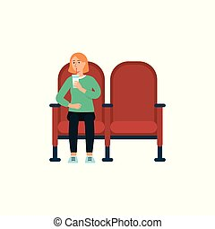Single woman with beverage in cinema cartoon style, vector ...