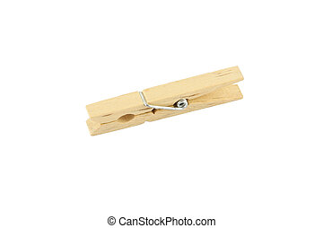 Single wooden clothespin on white background.