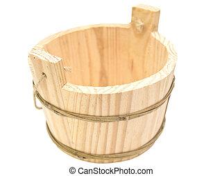 Single wooden sauna vat against the white background