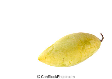 Single yellow mango on white background.