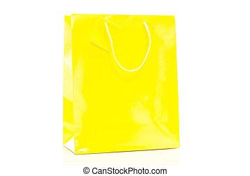 Single yellow shopping bag on white background