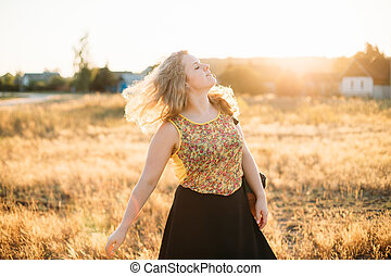 Young Pretty Plus Size Caucasian Happy Smiling Laughing Girl Woman