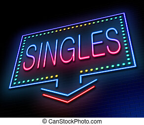 Illustration depicting an illuminated neon sign with a singles concept.