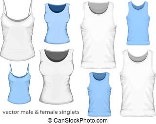 singlets, mâle, femme