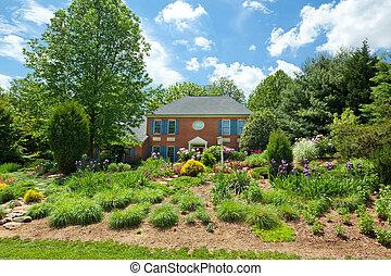 singola casa famiglia, casa, fiore, landscaped, giardino