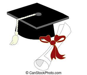 singolo, berretto laurea, e, diploma