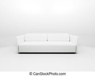 singolo, bianco, divano
