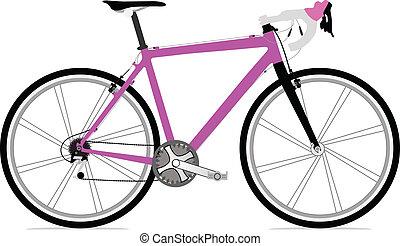 singolo, bicicletta, illustrazione, icona