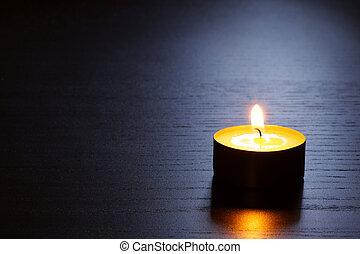 singolo, candela, con, indietro, lit., tranquillo, scene.