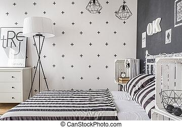 singolo, donna, idea, camera letto