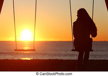 singolo, donna, solo, oscillazione, spiaggia
