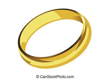 singolo, dorato, anello