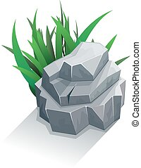 singolo, erba, pietra
