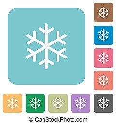 singolo, fiocco di neve, appartamento, incorniciato, icone, arrotondato, quadrato, appartamento, icone