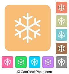 singolo, fiocco di neve, arrotondato, quadrato, appartamento, icone