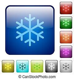 singolo, fiocco di neve, colorare, quadrato, bottoni