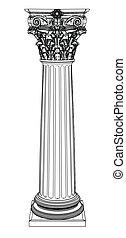 singolo, greco, colonna, isolato, bianco