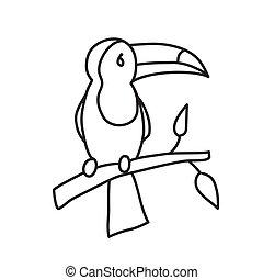 singolo, illustrazione, style., disegnato, object:, vettore...