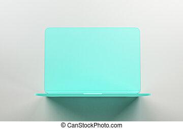 singolo, luce, minimo, turchese, concetto, onepiece, materiale, laptop, astratto, fondo.