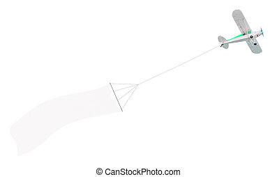singolo, motore, aereo, con, bandiera