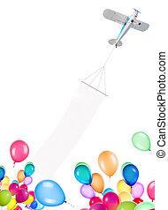 singolo, motore, aereo, con, bandiera, e, palloni