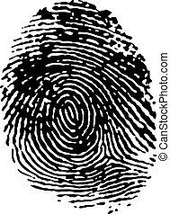 singolo, nero, impronta digitale