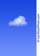 singolo, nuvola, su, cielo blu