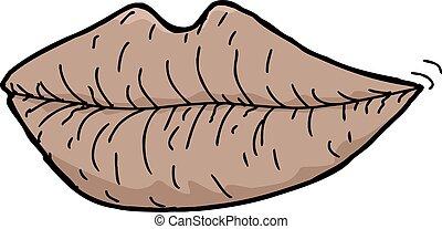 singolo, screpolato, labbra