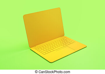 singolo, spia verde, minimo, concetto, onepiece, materiale, giallo, laptop, astratto, fondo.