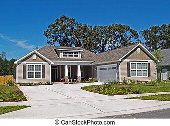 singolo, storia, casa, con, garage